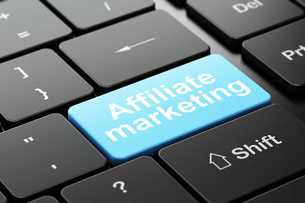 Finance concept: Affiliate Marketing on computer keyboard background Finance concept: computer keyboard with word Affiliate Marketing, selected focus on enter button background, 3d render affiliate stock pictures, royalty-free photos & images