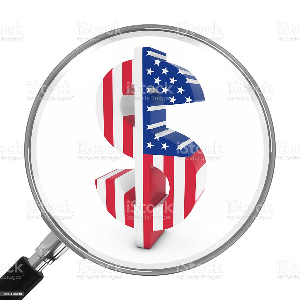 Us Finance Concept American Dollar Symbol Under Magnifying Glass