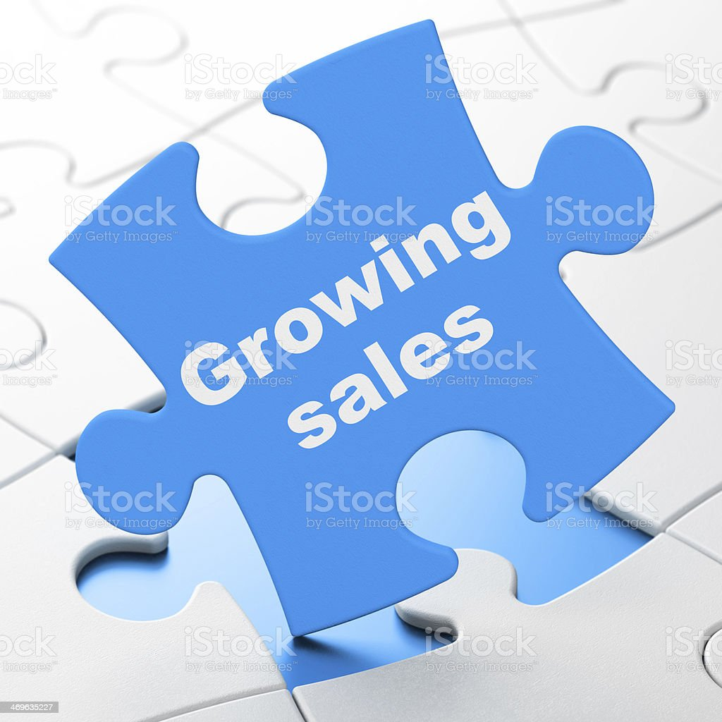 Finance concept: Growing Sales on puzzle background royalty-free stock photo