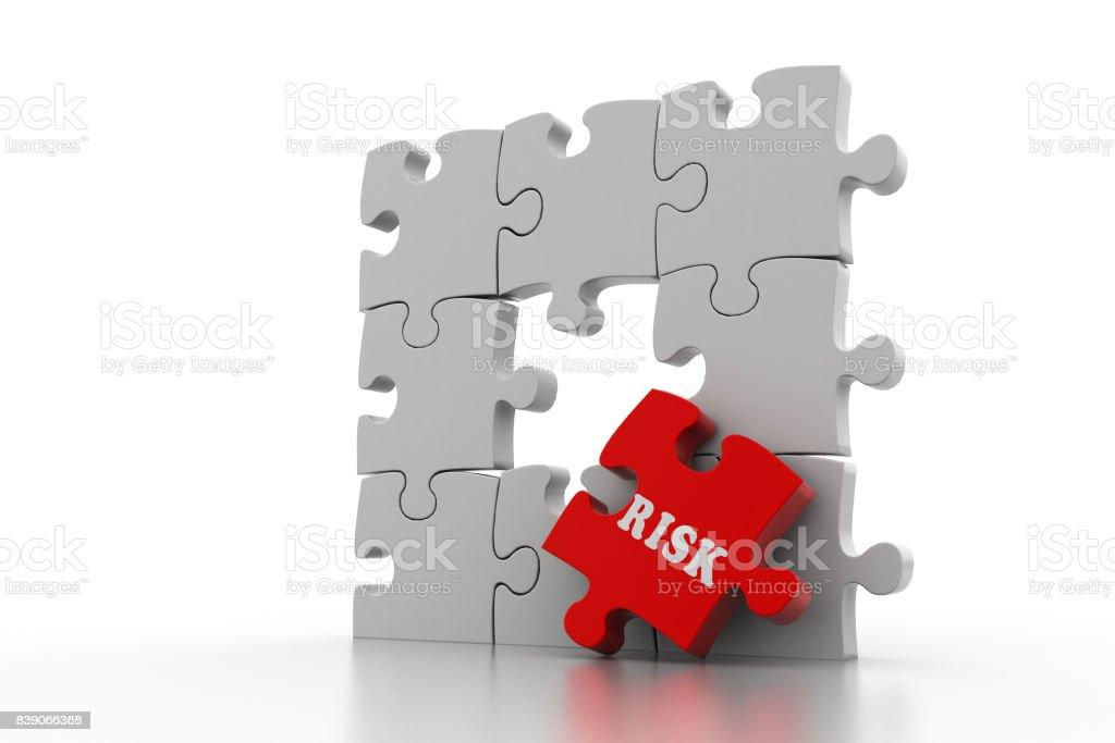 Finance concept: Risk on red puzzle piece stock photo