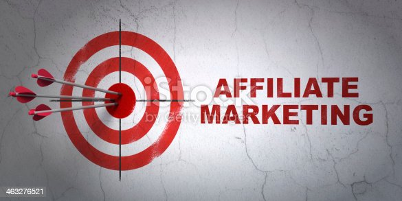 istock Finance concept: target and Affiliate Marketing on wall background 463276521