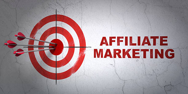 Finance concept: target and Affiliate Marketing on wall background Success finance concept: arrows hitting the center of target, Red Affiliate Marketing on wall background, 3d render affiliate stock pictures, royalty-free photos & images