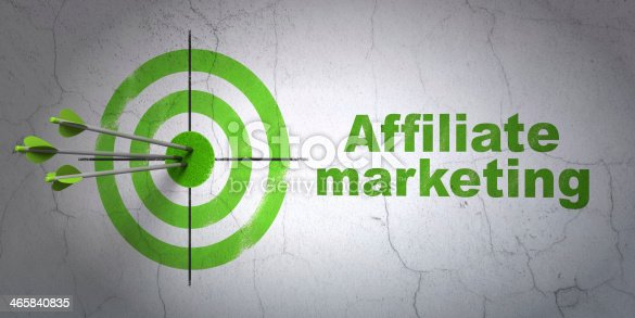 istock Finance concept: target and Affiliate Marketing on wall background 465840835