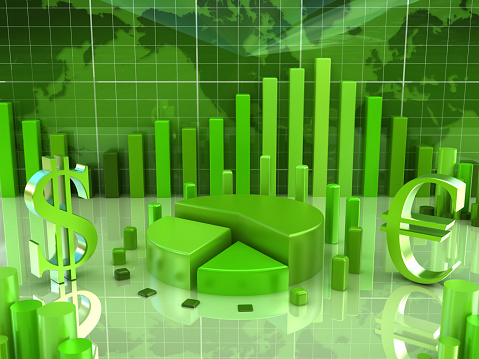 Concept image about finance, business and stock marketing... Dollar and Euro signs, data charts, a pie chart and columns on a reflective surface. World map in the background. High resolution 3D rendering.