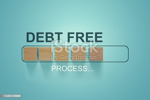 istock Finance conceptual, Business concept: Woodblocks with the word Debt Free in the loading bar progress. Depicts repayment planning and money management. To increase financial liquidity to pay off debt. 1208326968