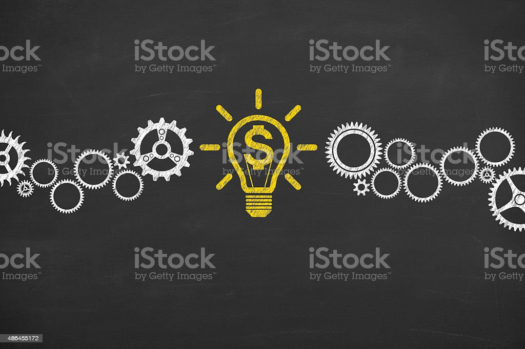 Finance Conceptual Idea Light Bulb and Gear Working on Blackboard stock photo