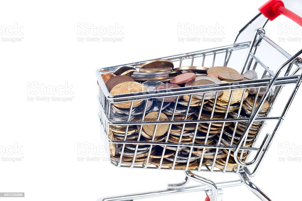 Finance Conceptual,Coins in shopping trolley stock photo