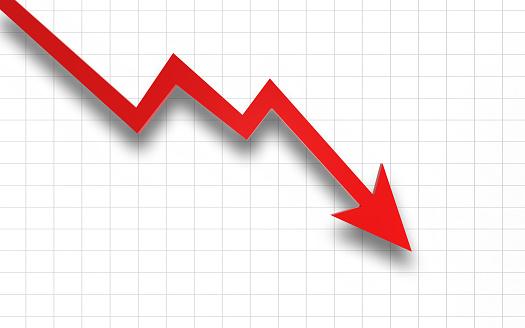 Finance crisis recession falling graph risk