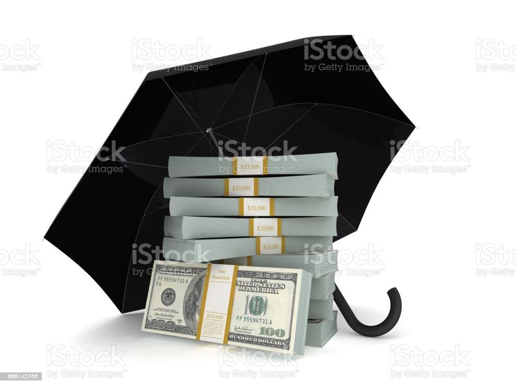 Finance crisis risk insurance umbrella concept stock photo