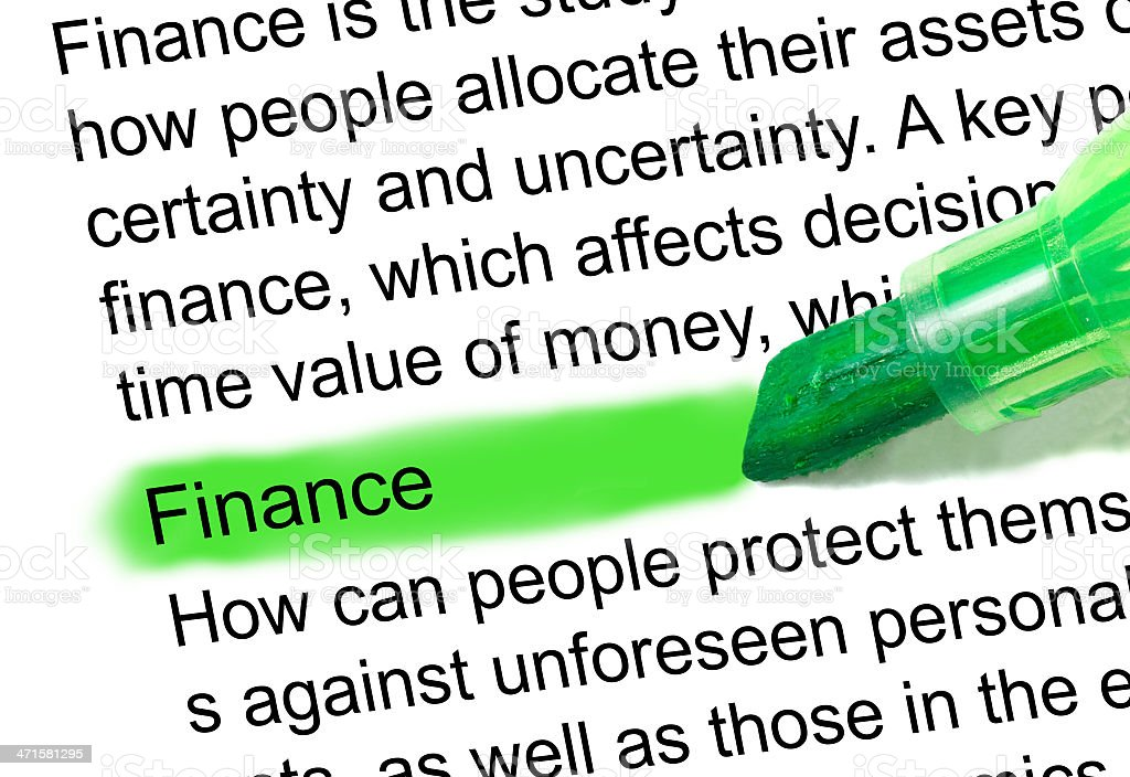 finance definition  marked in dictionary stock photo