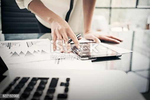 istock Finance department working process.Closeup photo business woman showing reports 522152002
