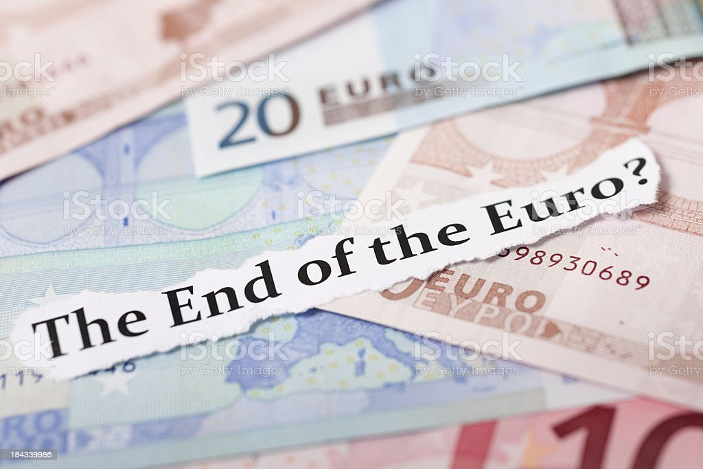 Finance Headline End of The Euro stock photo