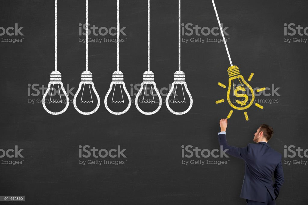 Finance Idea Concepts Drawing on Blackboard Background stock photo