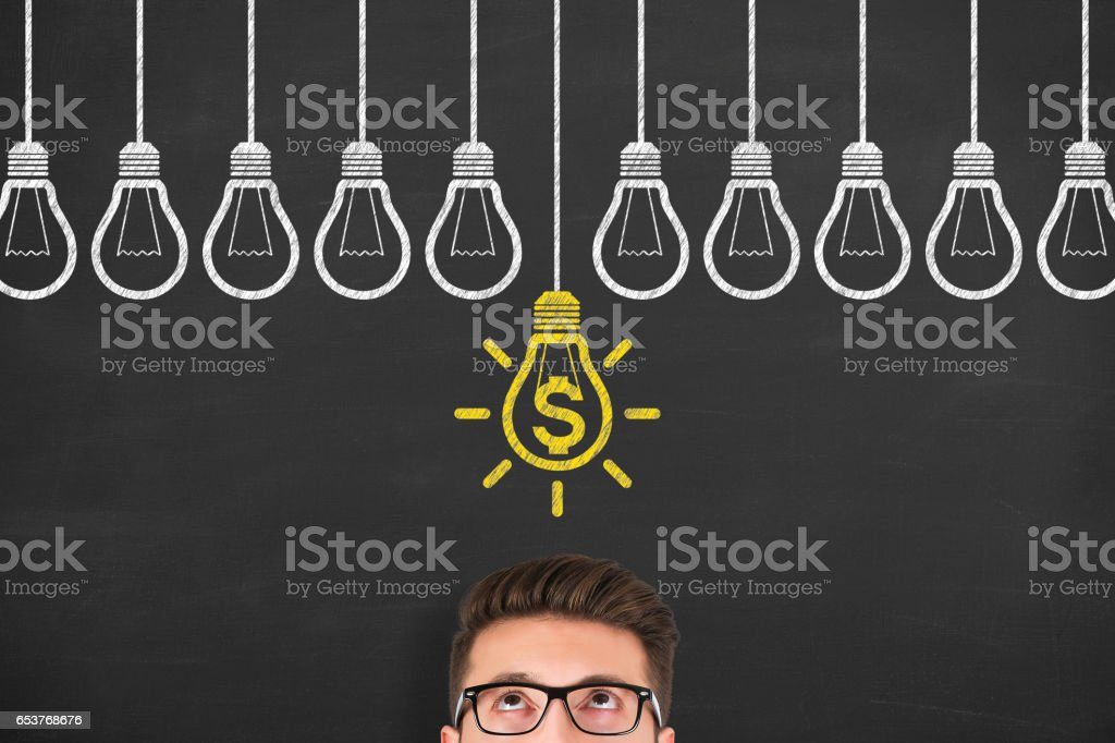 Finance Idea Concepts Drawing on Chalkboard Background stock photo