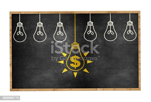 645716366 istock photo Finance Ideas Concept with Light Bulb on Blackboard 959889770