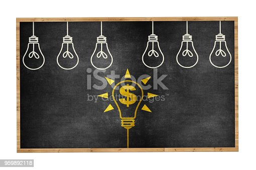 645716366 istock photo Finance Ideas Concept with Light Bulb on Blackboard 959892118