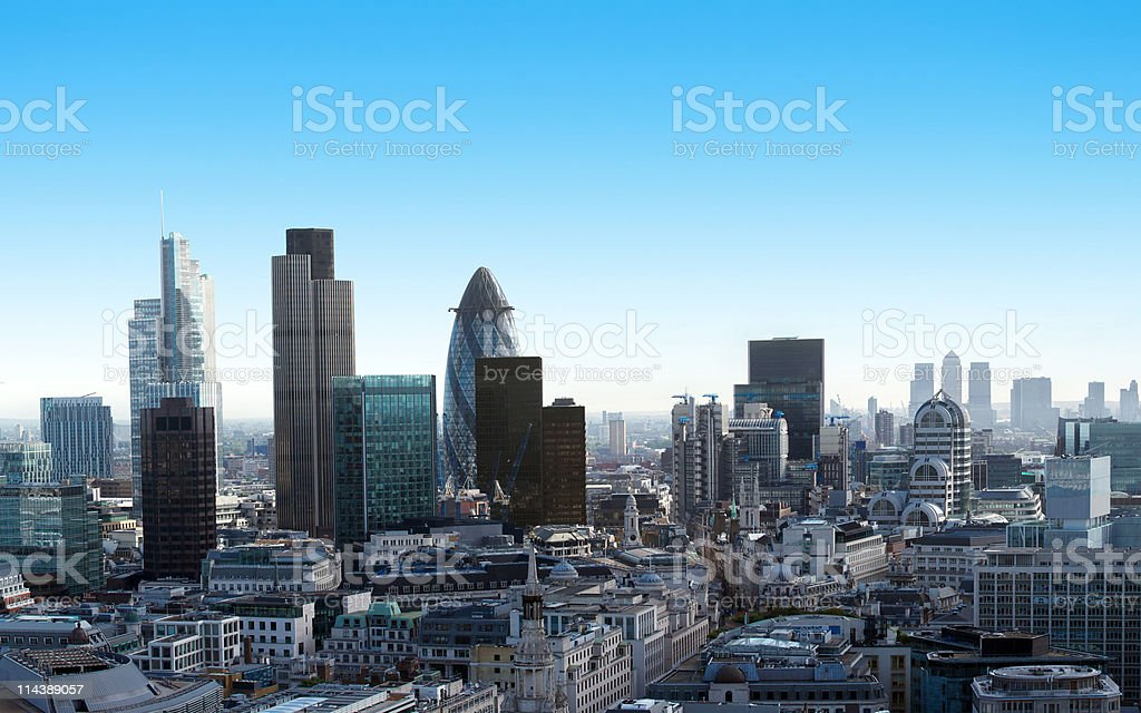 Finance in the City of London and Canary Wharf stock photo