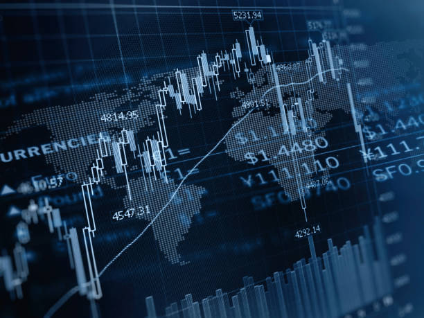 FinanzinvestRendite Aktienmarkt Diagramme Währung Börse Global Business Fintech – Foto