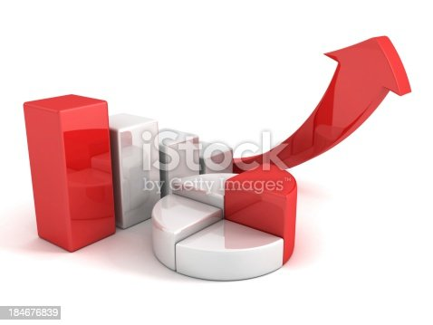 istock finance pie and bar chart graphs with growing arrow 184676839