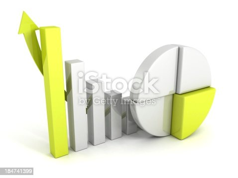 171361168 istock photo finance pie and bar chart graphs with growing arrow 184741399