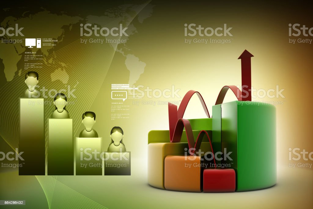 finance pie and bar chart graphs with growing arrow royalty-free stock photo