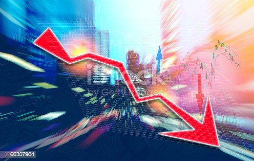 istock Finance Stock market with abstract light trials background. Index graph chart 1160307904