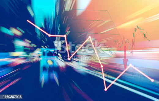istock Finance Stock market with abstract light trials background. Index graph chart 1160307918