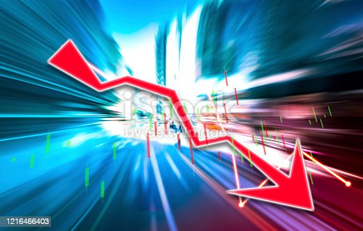 913603748 istock photo Finance Stock market with abstract light trials background. Index graph chart 1216466403