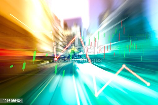 913603748 istock photo Finance Stock market with abstract light trials background. Index graph chart 1216466404
