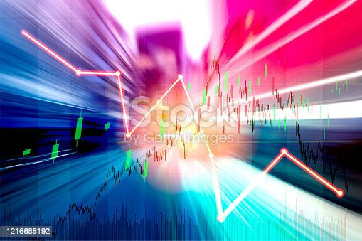 913603748 istock photo Finance Stock market with abstract light trials background. Index graph chart 1216688192