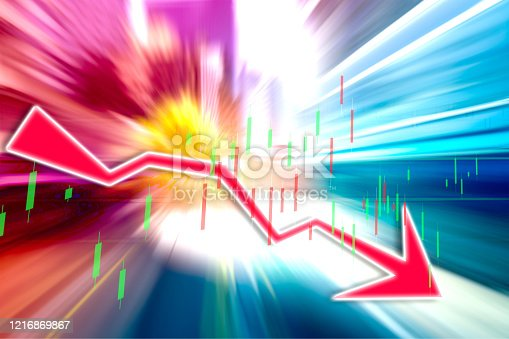 913603748 istock photo Finance Stock market with abstract light trials background. Index graph chart 1216869867