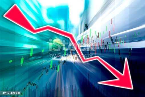 913603748 istock photo Finance Stock market with abstract light trials background. Index graph chart 1217268600
