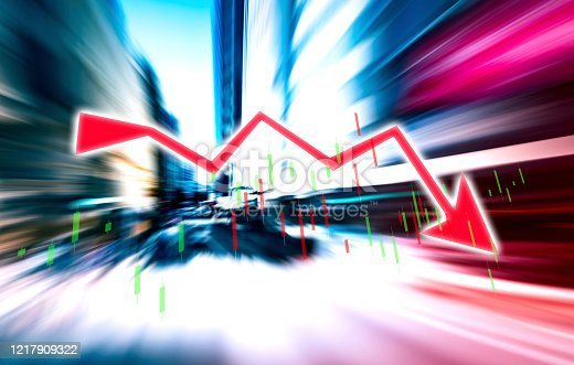 913603748 istock photo Finance Stock market with abstract light trials background. Index graph chart 1217909322
