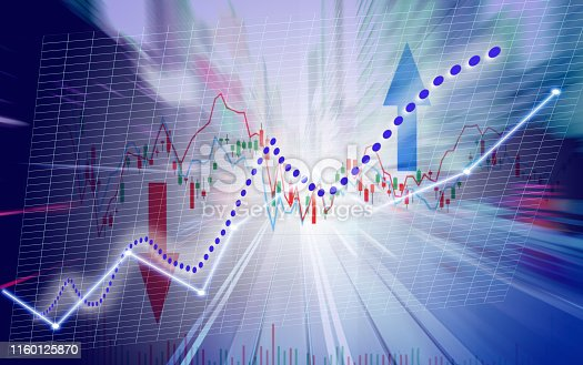 istock Finance Stock market with light trials background. Index graph chart 1160125870