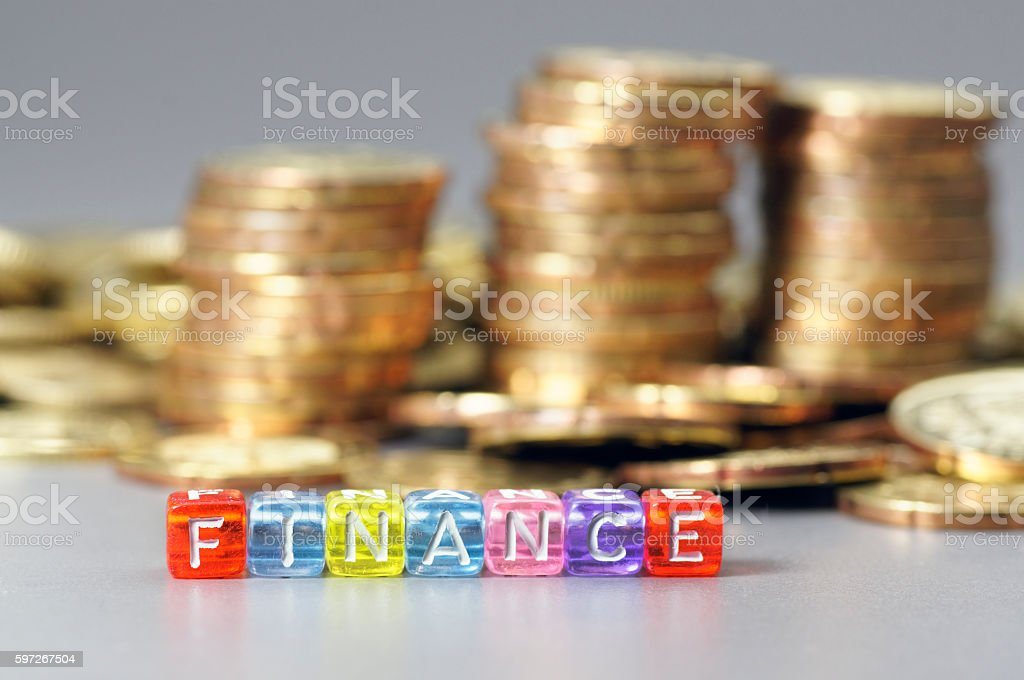 Finance word on dice photo libre de droits