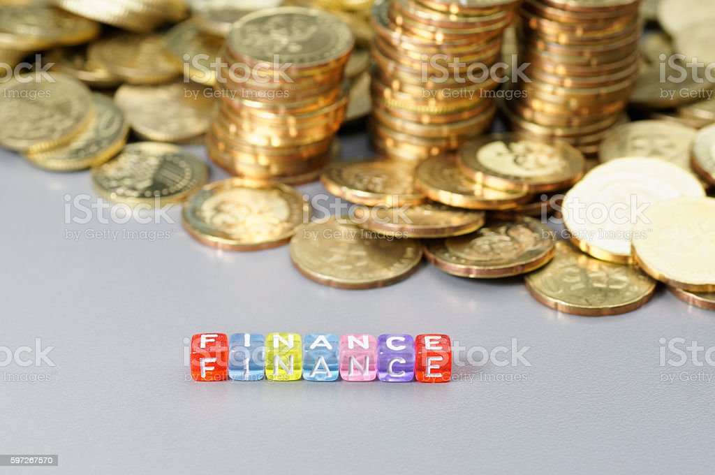 Finance word on dice royalty-free stock photo