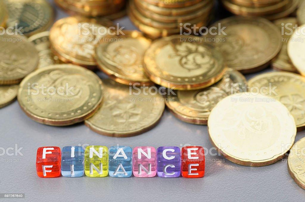 Finance word on dice photo libre de droits