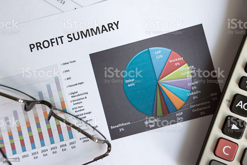 Financial accounting of profit summary graphs analysis stock photo