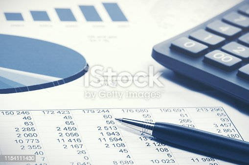 istock Financial accounting stock market graphs and charts 1154111430