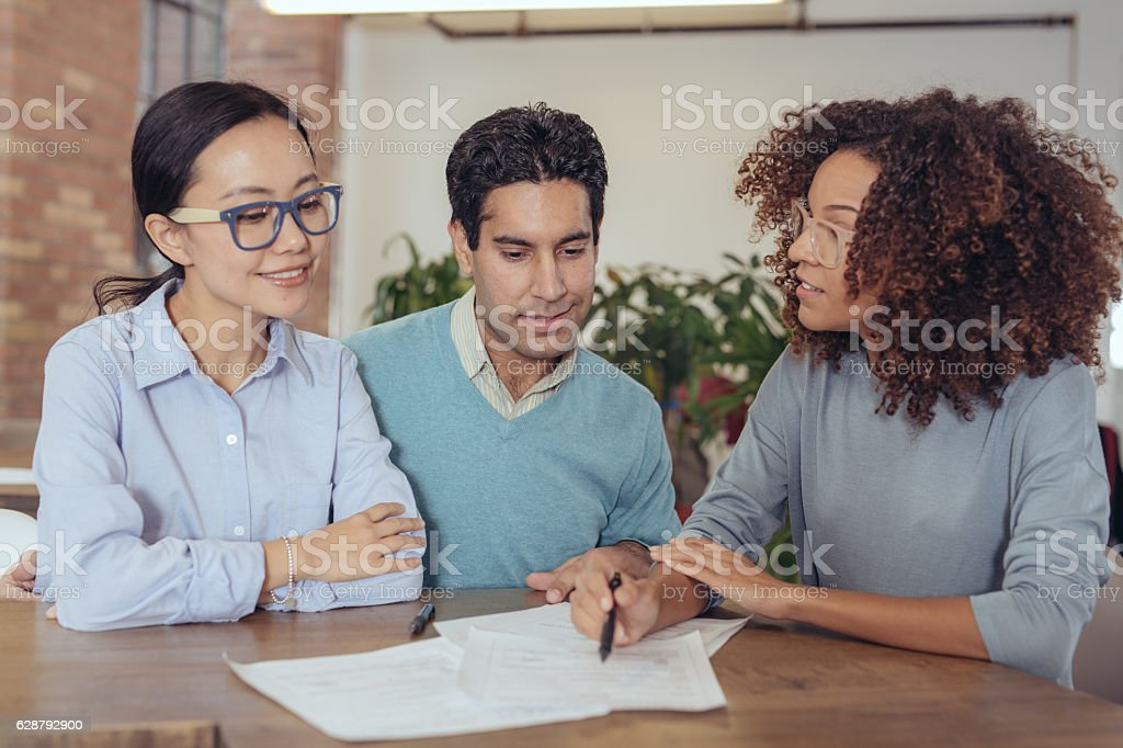 Financial advice for couple stock photo