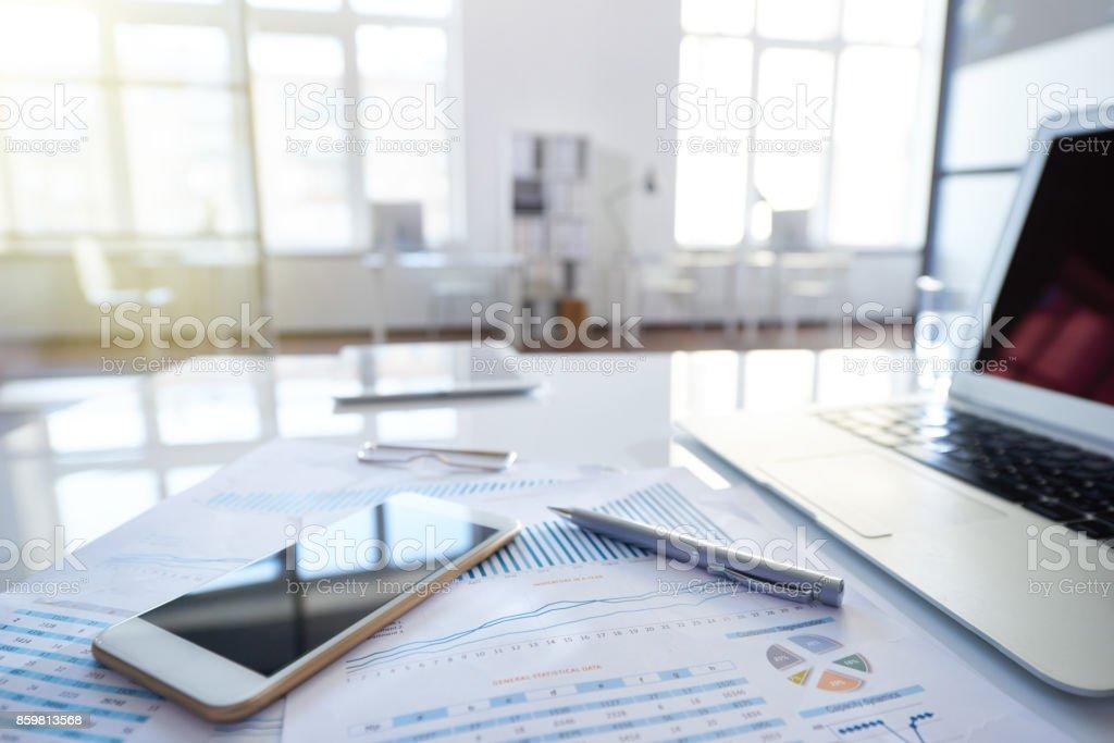 Financial advisers desk stock photo
