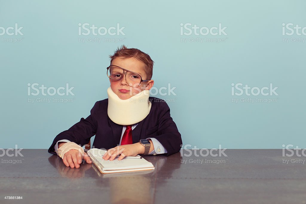 Financial Advisor Boy Is Beat Up stock photo
