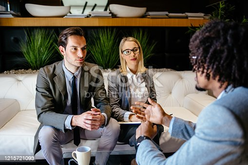 1129638619 istock photo Financial advisor making presentation offer to clients at meeting 1215721093