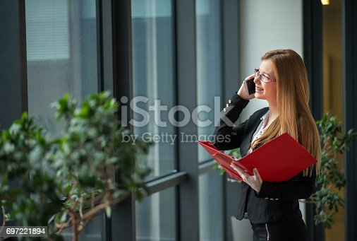 istock Financial advisor talking on phone and waiting for a meeting 697221894