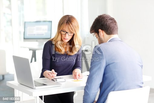 546183298 istock photo Financial advisor with client 546183356
