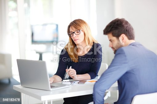 546183298 istock photo Financial advisor with client 546183478