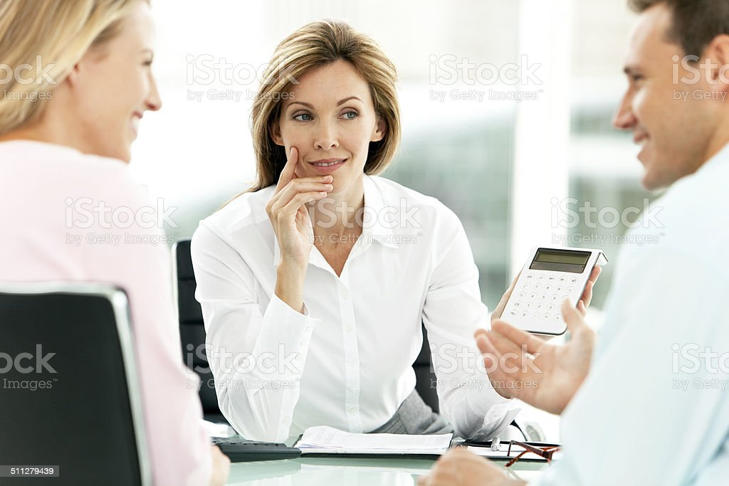 Financial Advisor with customers stok fotoğrafı