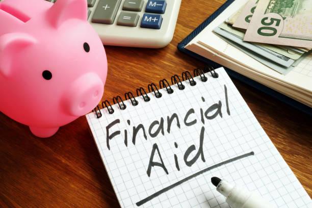 Finanzielle Hilfe Zeichen mit Geld und Sparschwein. – Foto