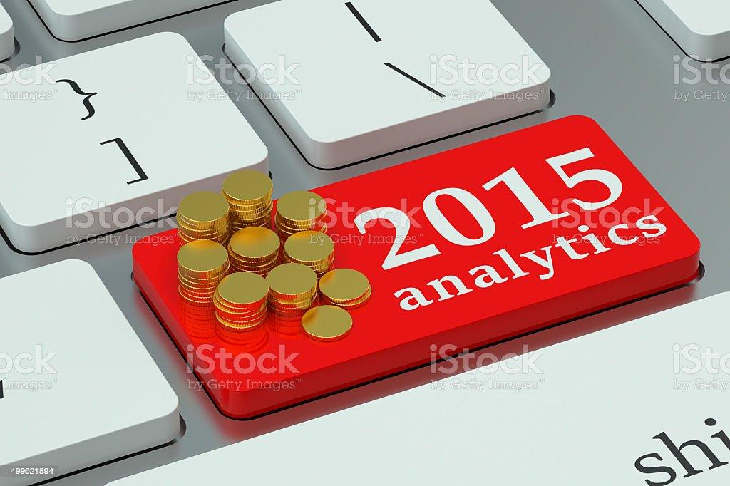 Financial Analitics 2015 concepto en el teclado - foto de stock