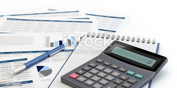 istock Financial analysis, calculator and grapgs 1153798357